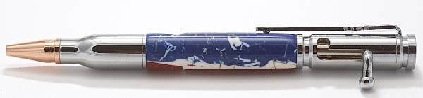 Chrome Bolt Action with Patriotic Blank