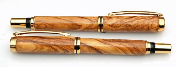 Olive Wood Rollerball and Fountain Pen Set